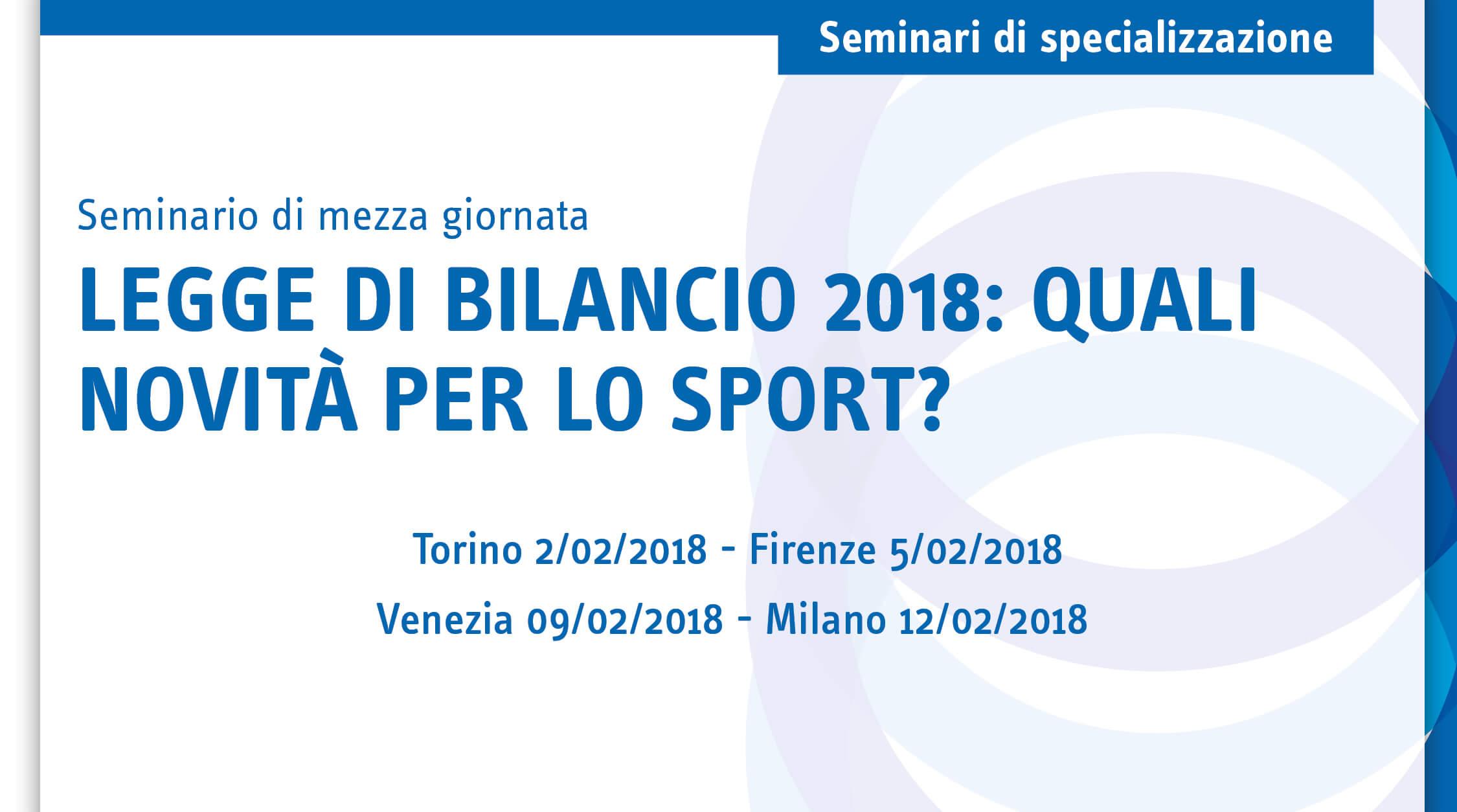 Legge di bilancio 2018: quali novità per lo sport?