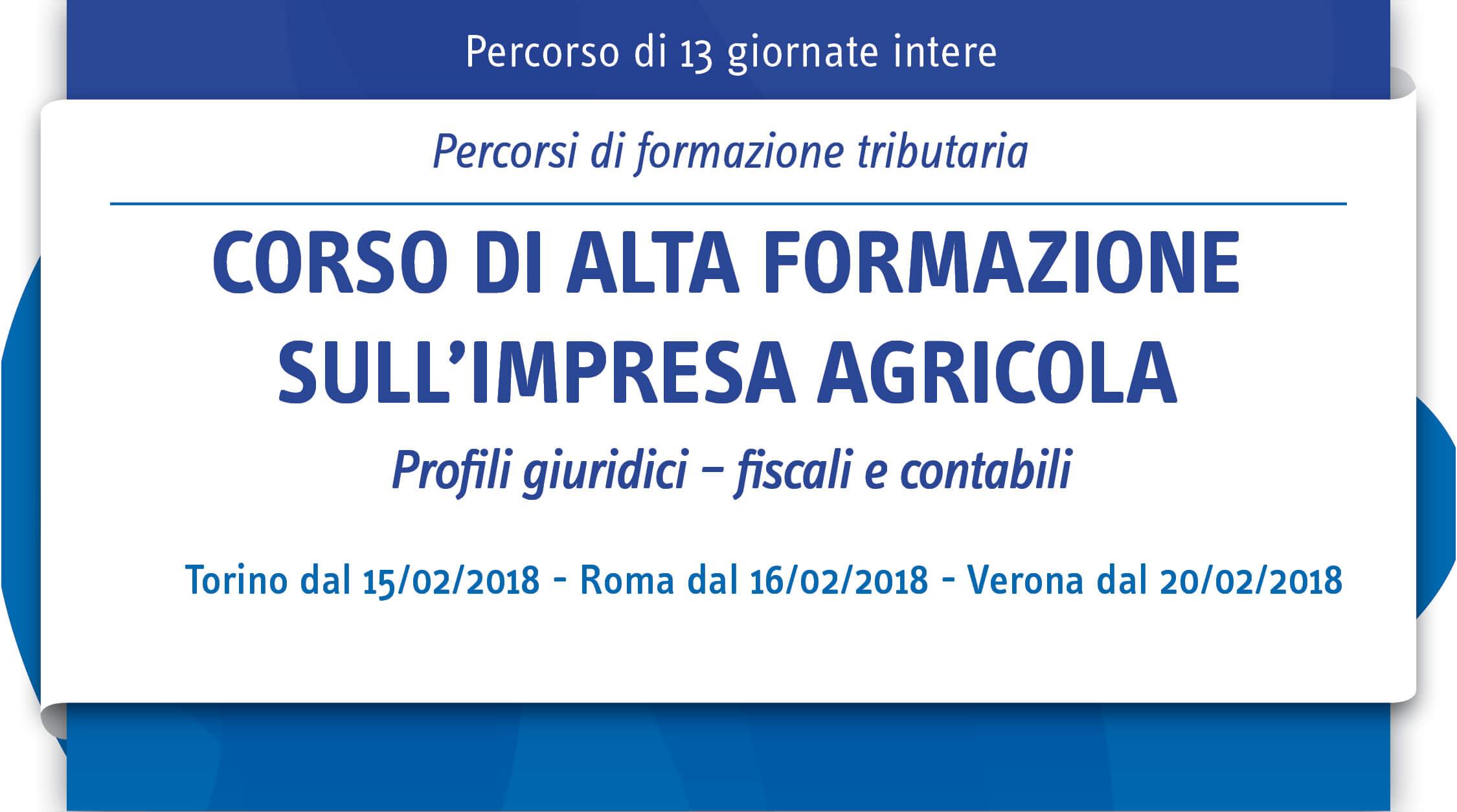 Corso di alta formazione sull'impresa agricola