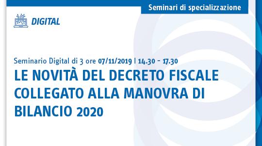 Le novità del decreto fiscale collegato alla manovra di bilancio 2020